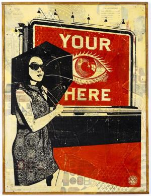 Shepard Fairey, Obey Billboard (Eye) HPM on Wood