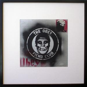 Shepard Fairey, Obey Fiend Club Stencil Collage on Album Cover