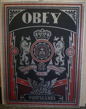 Shepard Fairey, Obey Lions on Metal