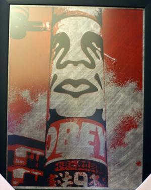 Shepard Fairey, Obey Pole on Metal