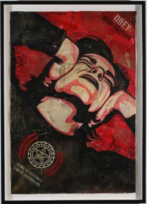 Shepard Fairey,  Obey With Caution 2006 Stencil Collage on Paper