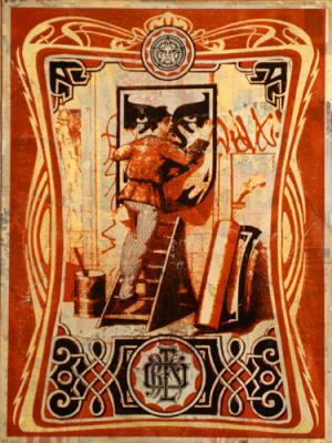 Shepard Fairey, Vintage Paster HPM on Wood