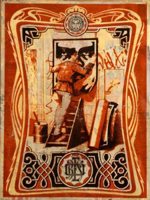 Shepard Fairey, Vintage Paster HPM on Wood