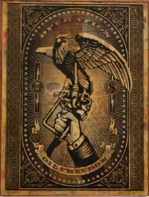 Shepard Fairey, Operation Oil Freedom HPM on Wood