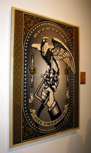 Shepard Fairey, Operation Oil Freedom on Wood - Large
