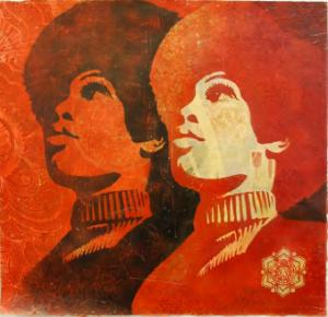 Shepard Fairey, Panther Power Stencil Collage on Paper