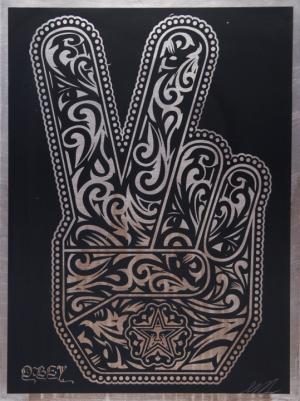 Shepard Fairey, Peace Fingers on Metal