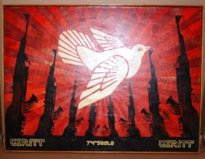 Shepard Fairey, Peace Dove/AK47 Canvas Unique