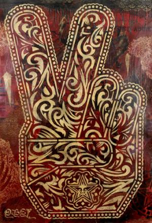 Shepard Fairey, Peace Fingers Stencil Collage on Paper