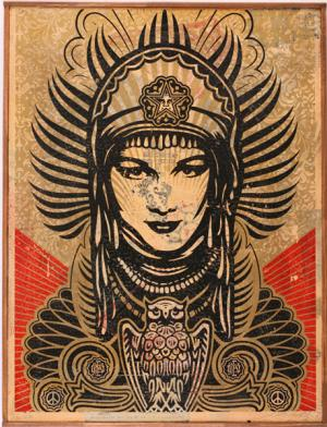 Shepard Fairey, Peace Goddess HPM on Wood