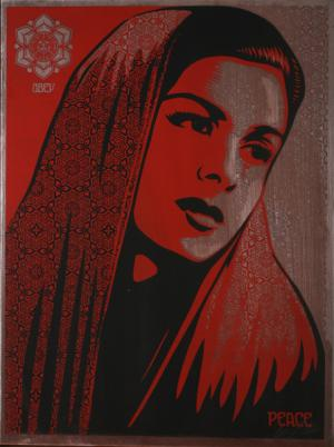 Shepard Fairey, Peace Mujer on Metal