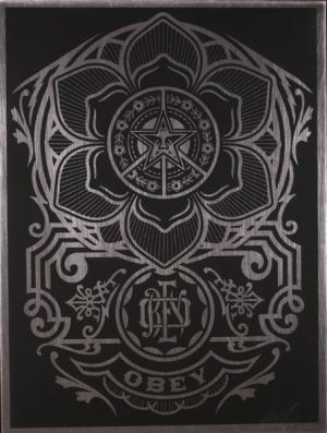 Shepard Fairey, Peace Ornament on Metal
