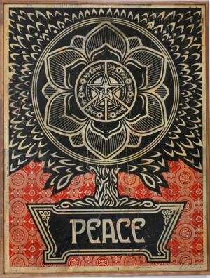 Shepard Fairey, Peace Tree HPM on Wood