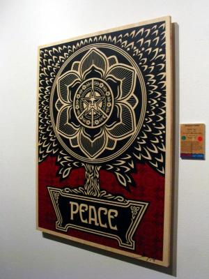 Shepard Fairey, Peace Tree on Wood - Large