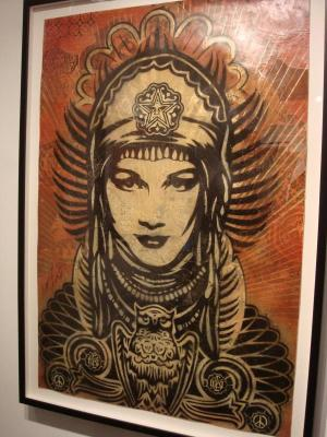 Shepard Fairey, Peace Goddess Stencil Collage on Paper
