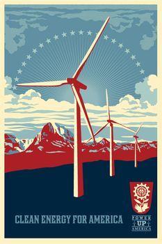 Shepard Fairey, Power Up Windmill Offset (Open Edition)
