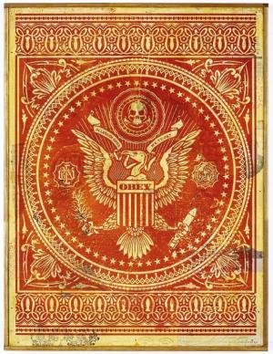 Shepard Fairey, Presidential Seal Red HPM on Wood