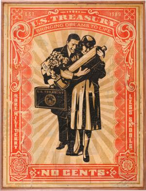 Shepard Fairey, Proud Parents HPM on Wood
