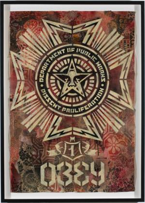 Shepard Fairey, Public Works Medal Stencil Collage on Paper