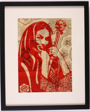 Shepard Fairey, Revolutionary Woman with Brush Rubylith