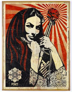 Shepard Fairey, Revolutionary Woman with Brush HPM on Wood