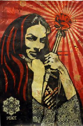 Shepard Fairey, Revolutionary Woman with Brush Stencil Collage on Paper