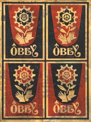 Shepard Fairey, Rise Above Stamp HPM on Wood