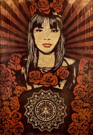 Shepard Fairey, Rose Girl Canvas