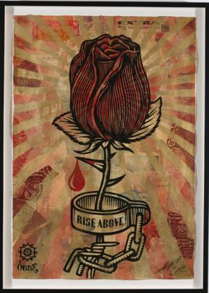 Shepard Fairey, Rose Shackle Stencil Collage