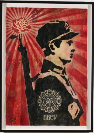 Shepard Fairey, Rose Soldier Stencil Collage