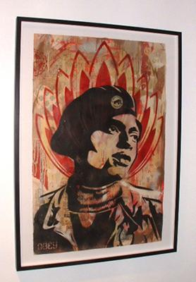Shepard Fairey, Unknown Black Panther Stencil Collage on Paper 