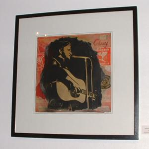 Shepard Fairey, Johnny Cash Retired Stencil on Album Cover