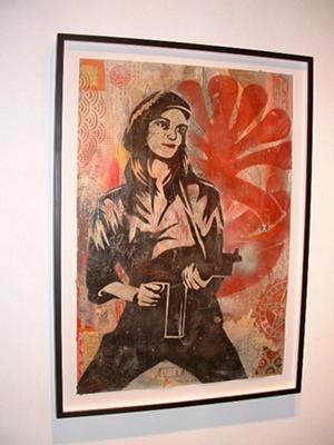 Shepard Fairey, Patty Hearst Stencil Collage on Paper