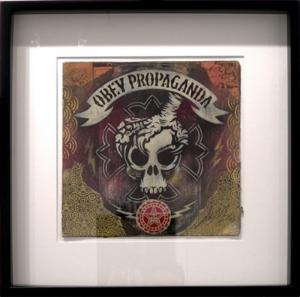 Shepard Fairey, Skull Claw Stencil Collage on Album Cover