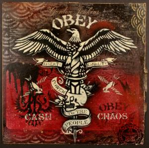 Shepard Fairey, Skull Eagle Tattoo Stencil Collage on Album Cover
