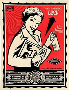Shepard Fairey, Stay Up Girl (Levi's Edition)