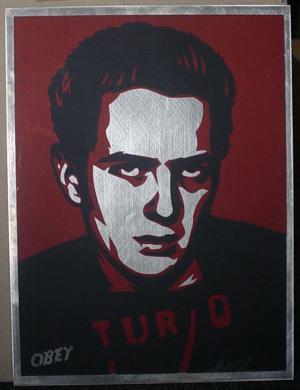 Shepard Fairey, Strummer Poster on Metal