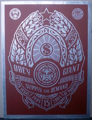 Shepard Fairey, Supply and Demand Red on Metal