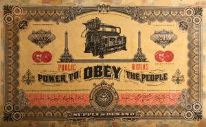 Shepard Fairey, Two Sides of Capitalism: Good - Installation