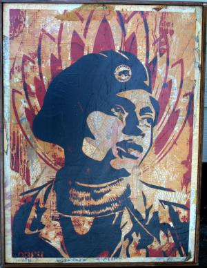 Shepard Fairey, Unknown Black Panther HPM on Wood