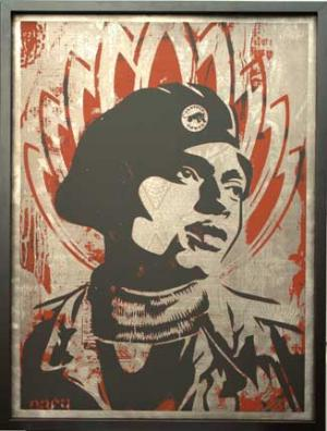 Shepard Fairey, Unknown Black Panther on Metal