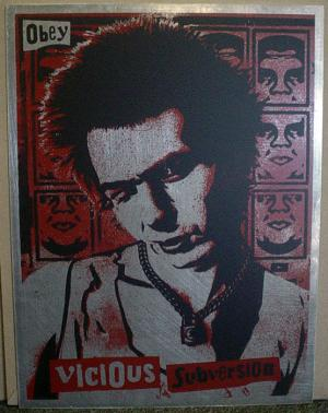Shepard Fairey, Vicious Sub Version on Metal