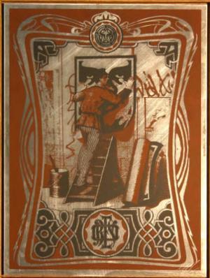 Shepard Fairey, Vintage Paster on Metal