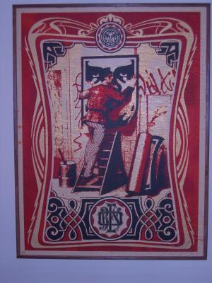Shepard Fairey, Vintage Paster on Wood