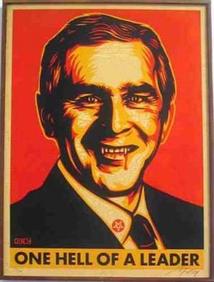 Shepard Fairey, Bush Hell on Wood