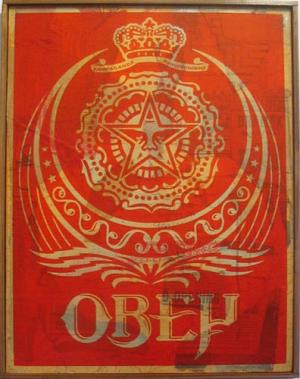 Shepard Fairey, Ankara Red HPM on Wood