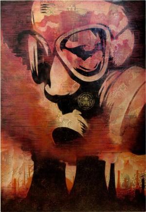 Shepard Fairey, Visual Pollution Gas Mask Canvas