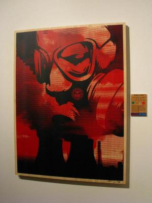 Shepard Fairey, Visual Pollution Gas Mask on Wood - Large