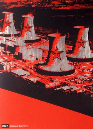 Shepard Fairey, Visual Pollution Smoke Stacks on Metal