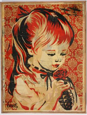 Shepard Fairey, War by Numbers HPM on Wood